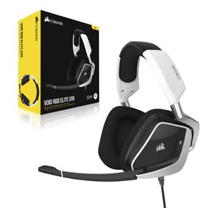 NEW Corsair VOID RGB ELITE USB Premium Gaming Headset White 7.1 Surround Sound