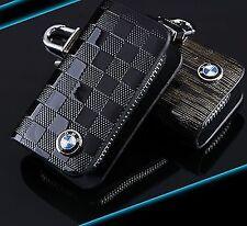 BMW Llavero De Cuero Llave de Automóvil FOB Estuche Soporte Cubierta de la cremallera 1 3 4 5 Series Negro