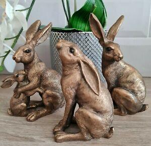 New Reflections Bronzed Hares / Rabbits Leonardo Collection Ornament Figurine