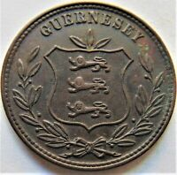 1875 GUERNSEY 8 Doubles, proof like fields grading About UNCIRCULATED / gEF.