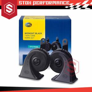 Genuine Hella Midnight Black Twin Tone Horn Set 12Volt Universal Car Horn