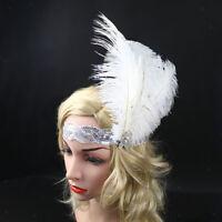 Handmade Fluffy Ostrich Feather Korker Hair Clip school//dance Navy//Light Blue