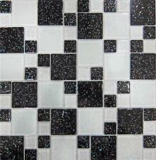 Black & White Polished Glitter Glass Mosaic Tiles Random Mix Sheet Shower MT0047