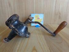 VINTAGE COFFEE GRINDER Wall Mount Black Cast Iron Wood Handle Grip