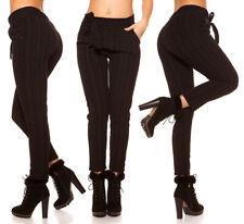 Pantalone donna in stoffa righe business style casual pants elastico in vita