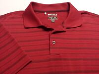 Adidas Climacool Mens Large Short Sleeve Red Striped Athletic Polo Golf Shirt