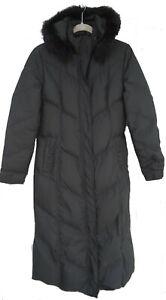Tahari Down filled Puffer Coat Size S Long Length Rabbit Fur Trim Hood Black