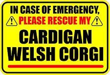 IN CASE EMERGENCY RESCUE CARDIGAN WELSH CORGI STICKER