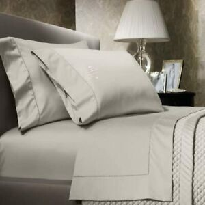 Ralph Lauren VINTAGE SILVER 3PC Bedding Set King Fitted Flat Sheets & Sham NEW
