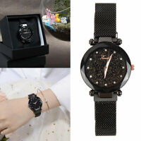 Fashion Quartz Steel Band Mesh Magnet Buckle Starry Sky Analog Wrist Watches