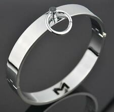 Stainless Steel Neck Collar Restraint Locking Slave O-ring bondage Choker @#