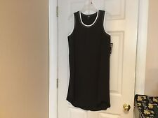 Women's Black ABS Sleeveless Dress with White Piping Size S (NWT)