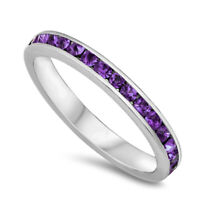 Eternity Amethyst CZ Stackable 925 Sterling Silver Ring 3 - 12
