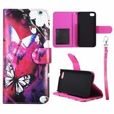 For Iphone 5C Wallet White Flower Butterfly Cover Split Leather Case Uni