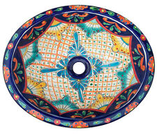 #129 SMALL BATHROOM SINK 16x11.5 MEXICAN CERAMIC HAND PAINT DROP IN UNDERMOUNT