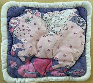 Vtg Pig o' My Heart POT HOLDER~Taylor & Ng~1981~pink pig quilted cotton~wings!
