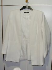 Winter white open front long length formal Jacket ~ size UK 18