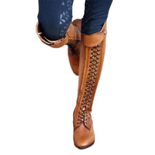 Women's Boots Knee High Lace up Stacked Heels Tall Riding Chivalry Boots