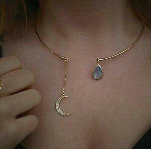 Women Girl Moon Water Drop Crystal Choker Collar Hoop Open Cuff Necklace Jewelry