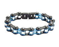 Biker Stainless Steel Silver Blue Black Bike Chain Bracelet USA Seller!