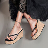 Womens High Wedge Heels Platform Flip Flops Roman Slippers Slides Sandals Shoes