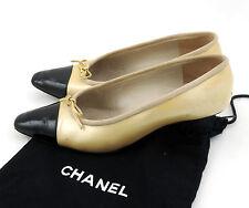 Chanel Pumps 36,5 gold schwarz kitten heels Halbschuhe escarpin