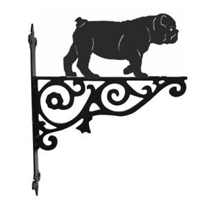 British Bulldog Metal Hanging Basket Bracket Wall Mounted Decorative Garden