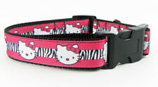 "Hello Kitty dog collar Handmade adjustable buckle collar 1"" wide or leash $12"