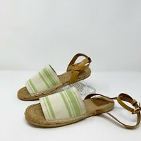 Tory Burch Awning Espadrille Flat Stripe Ankle Strap Sandals Women's Sz 9.5