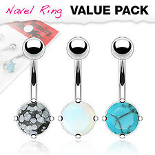 Prong Set Faux Stone Belly Button Ring Value Pack