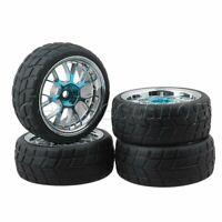 4PCS RC 1:10 on-road Racing Car Hub Wheel Rim Grid Grain Tire Black and Blue