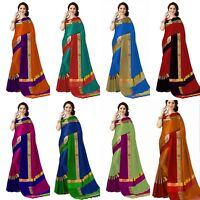 Designer Cotton Saree Silk Party Wear Indian Kanchipuram Bollywood Ethnic MB