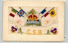 WW1 EMBROIDERED SILK ENVELOPE POSTCARD - CANADA CSB CANADADIAN SIEGE BATTERY ?