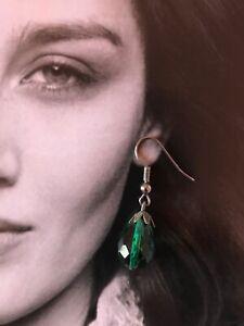 Vintage Emerald Green Drop Earrings