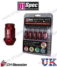 D1 SPEC RACING WHEEL NUTS RED P1.25 R 350Z 200SX IMPREZA WRX SKYLINE R33 SWIFT