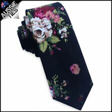 Black with White & Pink Flowers Men's Skinny Tie