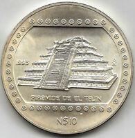 Mejico 10 Pesos PIRAMIDE DE EL TAJIN 1993 plata 5 onzas @ PRECOLOMBINA @