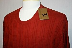 NWT Van Heusen Studio XL Crewneck Textured Pullover Sweater Rust Red Cotton