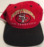 Vintage NFL San Francisco 49ers Apparel #1 Snapback Trucker Hat Cap Red Black