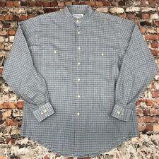 Yves Saint Laurent Mens Size 15.5 Gray Plaid Mandarin Neck Long Sleeve Shirt #3C