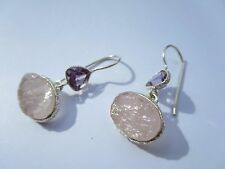 ROUGH LOOK ROSE QUARTZ AND AMETHYST DROP  EARRINGS 925 STERLING NEW