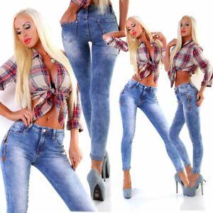 35071 Damen Jeans Röhre Skinny Treggings Slimfit Damenjeans Stretch Denim