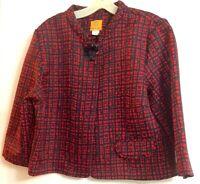 Ruby Rd Women's Blazer/Jacket 3/4 Sleeve Crew Neck Button Up Red & Black Size 14