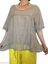 Leinene Damenblusen, - Tops & -Shirts in Größe 46