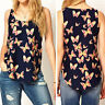 Women Butterfly Print Sleeveless Casual Chiffon Blouse T-Shirt Tank Top New CH