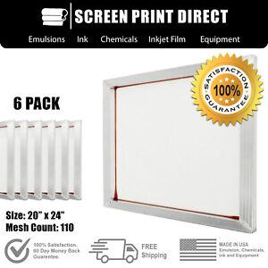 "Ecotex® Aluminum Frame Screen For Screen Printing 20"" x 24"" - 110 White Mesh (6)"
