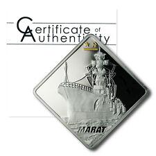 Palau Russian Battleship Marat $10 2010 2 oz Proof Silver Crown COA