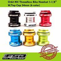"FSA Orbit MX Threadless Bike Headset 1-1/8"" W/Top Cap 34mm (6 colors)"