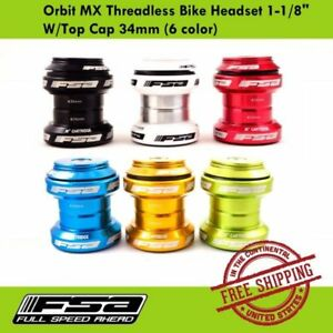 "FSA Orbit MX Threadless Bike Headset 1-1/8"" W/Top Cap 34mm (6 colors)"