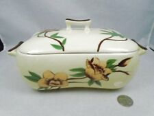 Vintage Weil Ware Yellow Rose Lidded Casserole Dish Small Chip on Lid CA Pottery